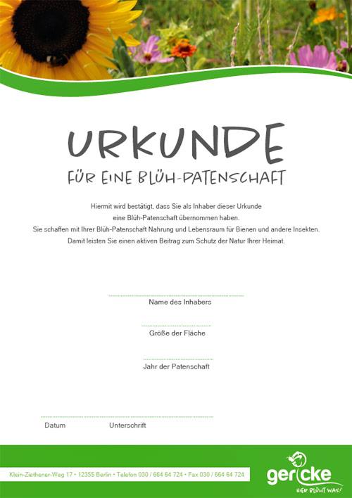 Gericke Berlin - Hier blüht was - Urkunde Blüh-Patenschaft